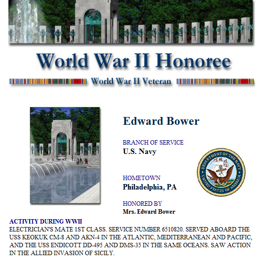 wwii honoree bower